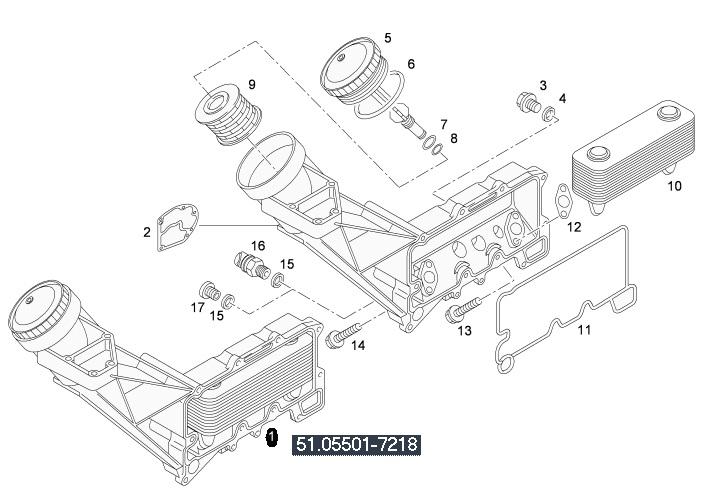 Корпус маслен филтър / охладител на MAN D2876LF04