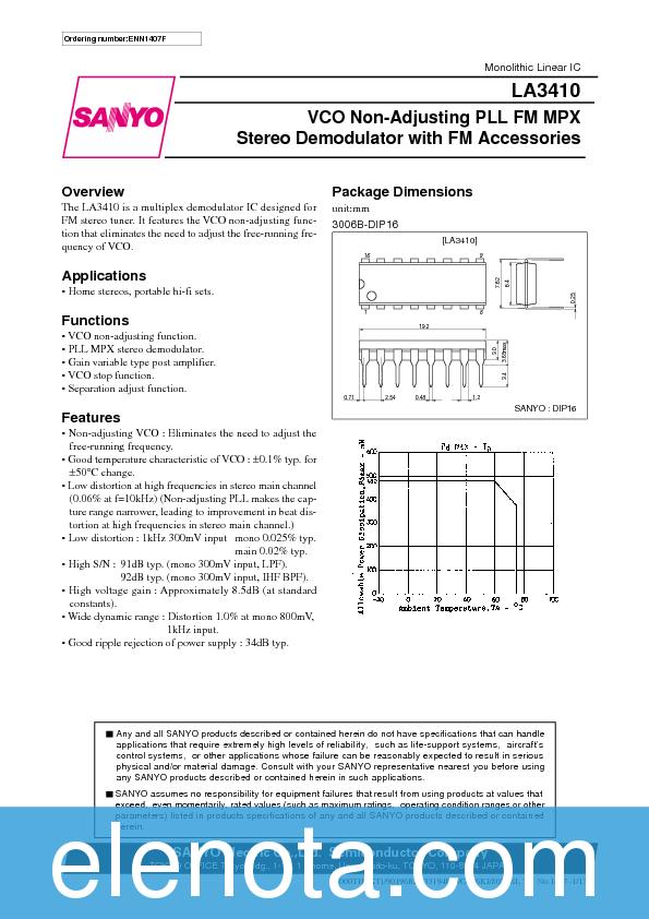 LA3410 Datasheet PDF (449 KB) Sanyo | Pobierz z Elenota.pl