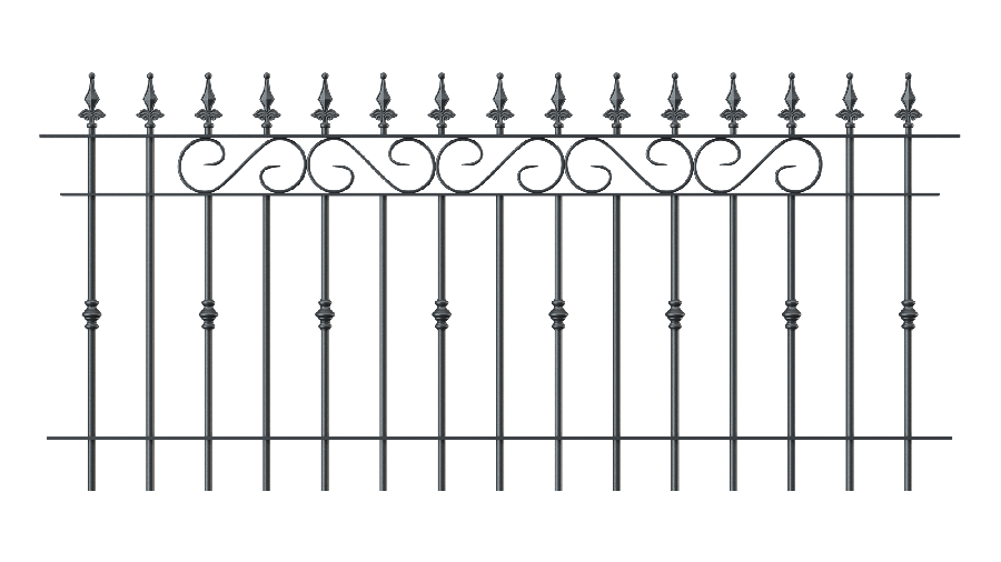 Zaunelemente Balerna in gerader Ausführung mit Spitze Kugellilie, pulverbeschichtet