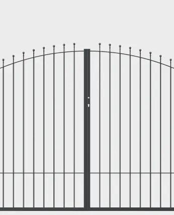 Tor Ancona zweiflügelig gebogen in pulverbeschichteter Ausführung mit Spitze Kugelstab