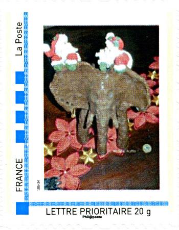 "timbre ""elephant de noel"" 2009 - © Michèle Ruffin"
