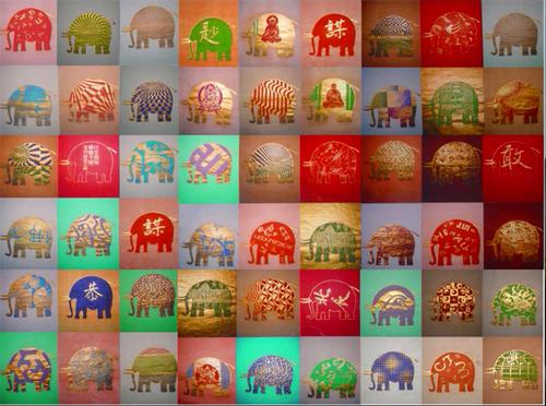 """huile sur papier """"Mémoire d' elephants"""" © Jacques Charrier"""