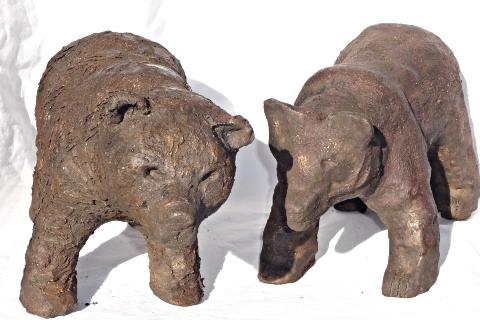 ours bruns - sculptures céramique © Michèle Ruffin