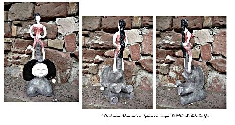 """""""Elephemme alsacien"""" sculpture céramique © Michèle Ruffin"""