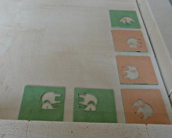 Poudre elephants rouge et vert avant cuisson