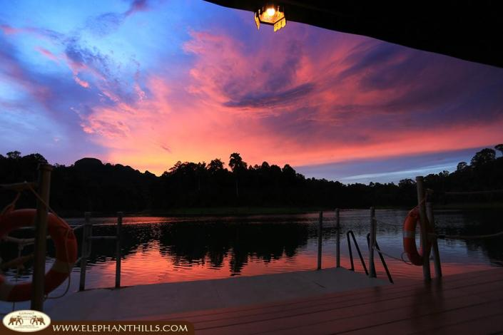 Unique sunsets over the Rainforest Camp creating a romantic atmosphere