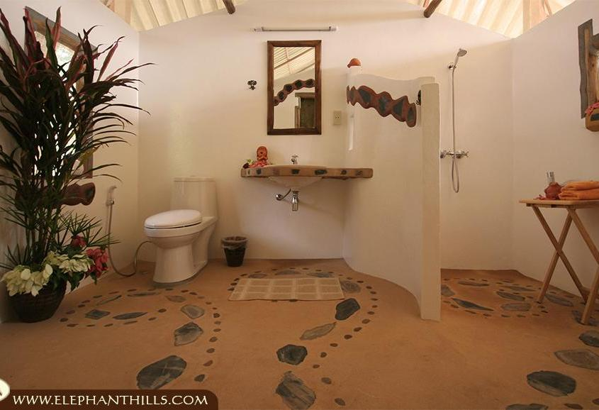 Luxurious bathroom with hot and cold shower and westernstyle toilet