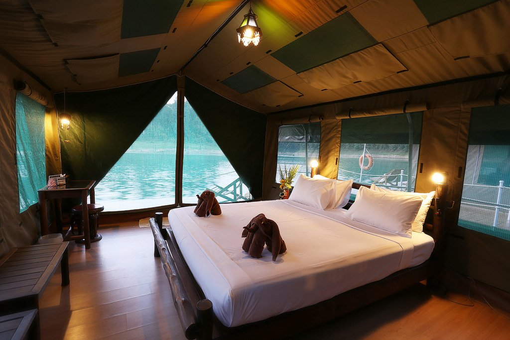 Elephant Hills Luxury Tented floating Rainforest Camp Cheow Larn Lake Khao Sok National Park Thailand, Tent Interior