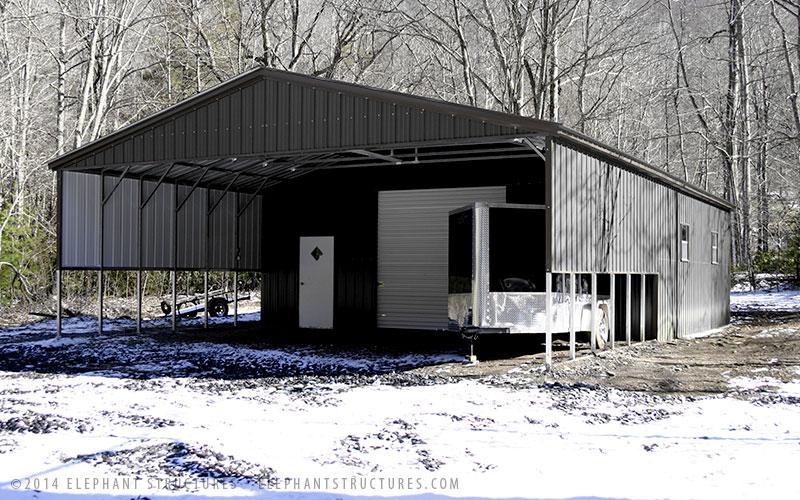 Gray Metal Garage Elephant Structures