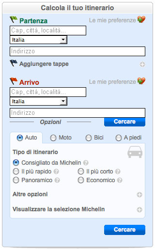 Calcola percorso stradale Da A i migliori 5 siti italiani