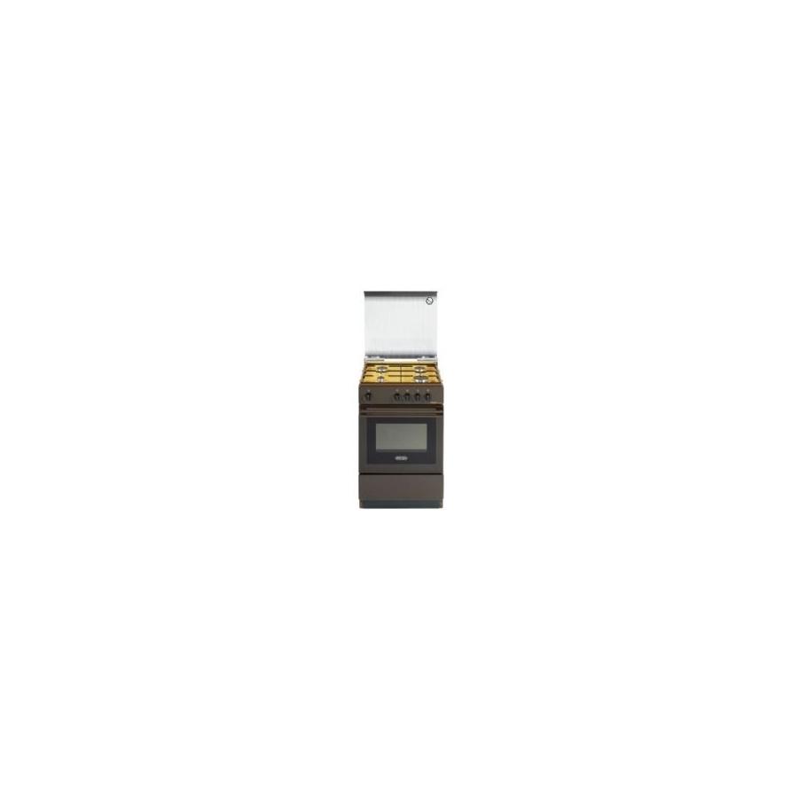 CUCINA DE LONGHI SGK554 GBN 50X50 4 FUOCHI  FGAS MARRONE COPERCHIO IN CRISTALLO  Elettrovillage