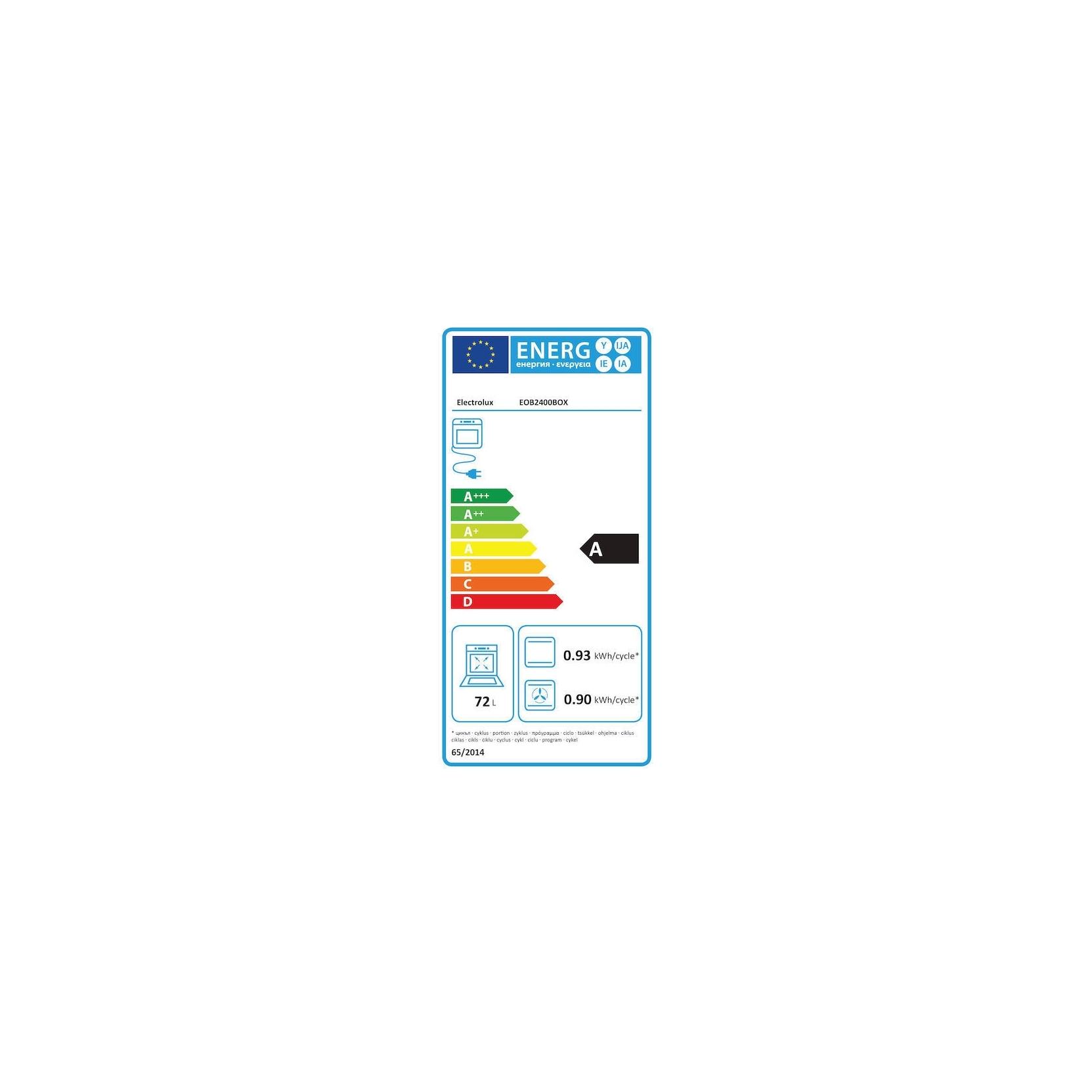 ELECTROLUX FORNO ELETTRICO EOB2400BOX CAPACITA 72 LITRI CLASSE A COLORE INOX  PROMOZIONE