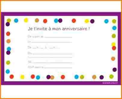 carte invitation anniversaire a imprimer gratuit