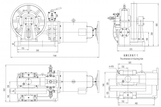 Elevator Geared Traction Machine / Lift Spare Parts High