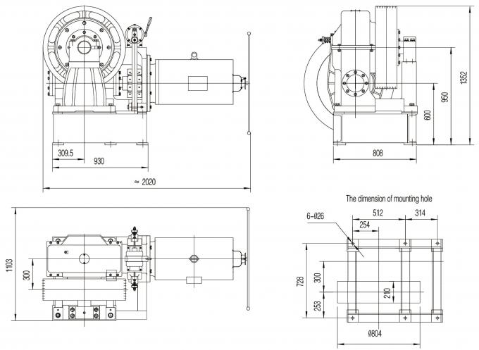 Passenger Lift Parts / Geared Traction Machine With Gear