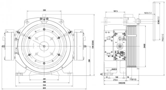 Lift Spare Parts Elevator Gearless Traction Machine Low