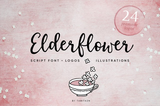 Elderflower Script Font, Logos & Illustrations.