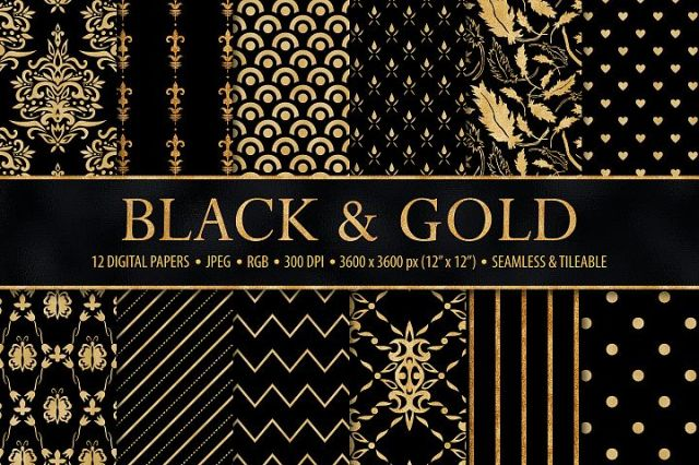 Black and Gold Seamless Papers - Damask & Geometric Patterns