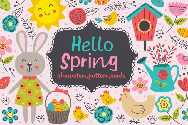 Hello Spring Illustrations