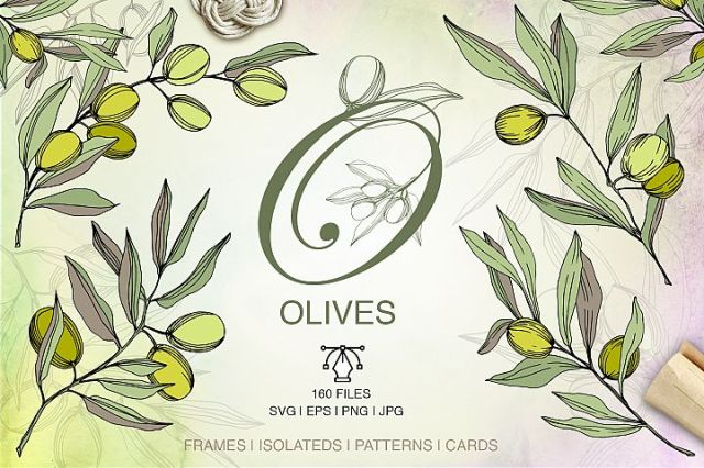 Olives Vector Watercolor Set