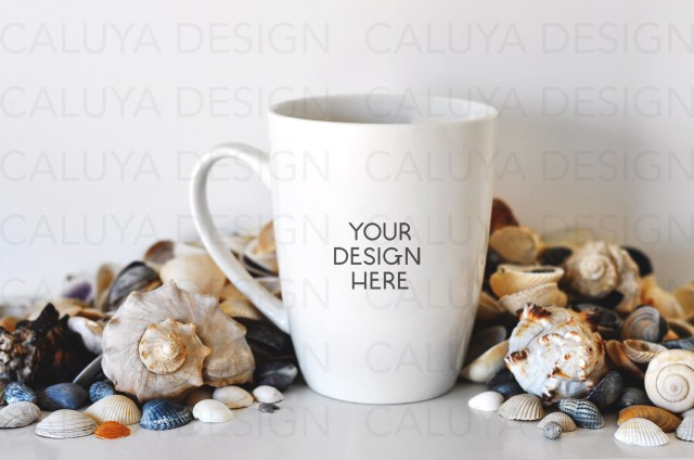 Mug with Seashells Mockup