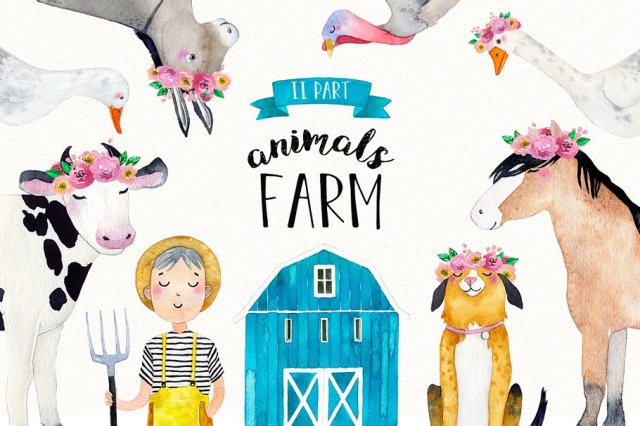 Farm Animals Watercolor Set Part 2