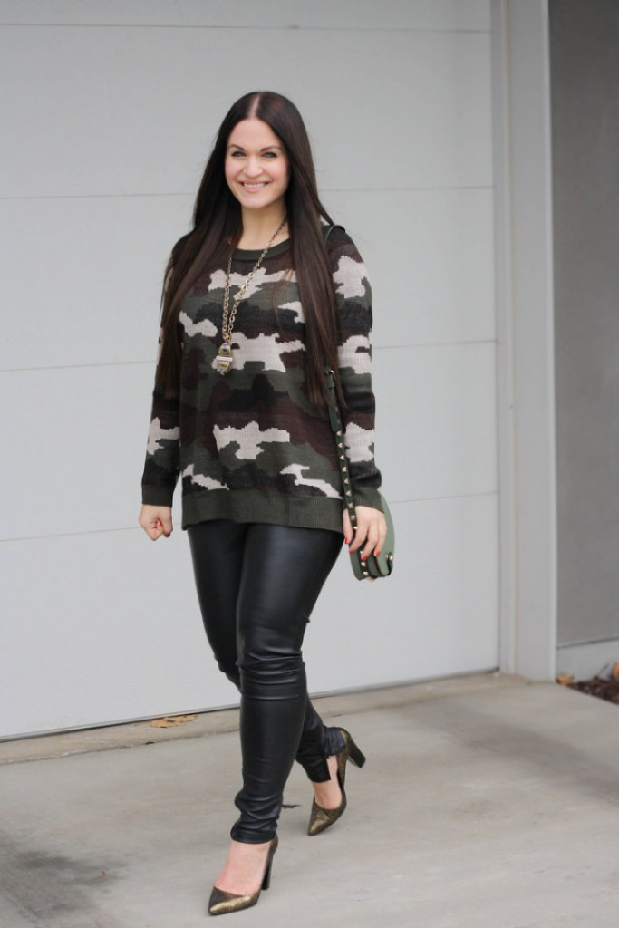 Camo Sweater and Leather Pants