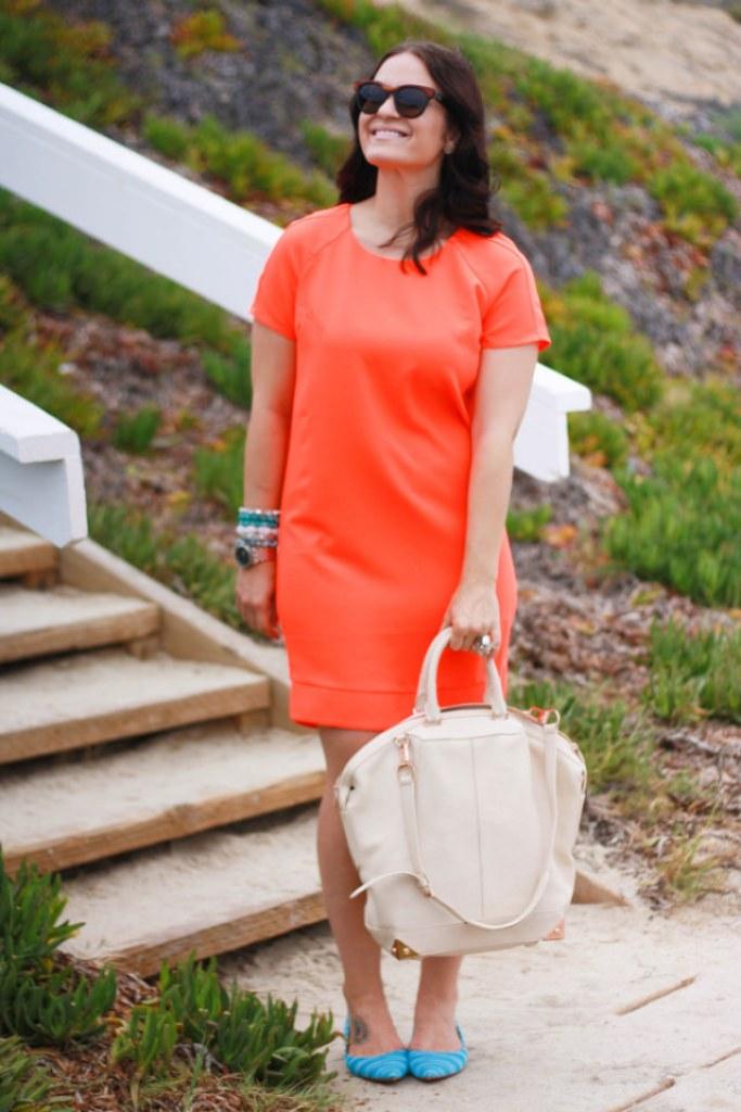Neon Orange Shift Dress