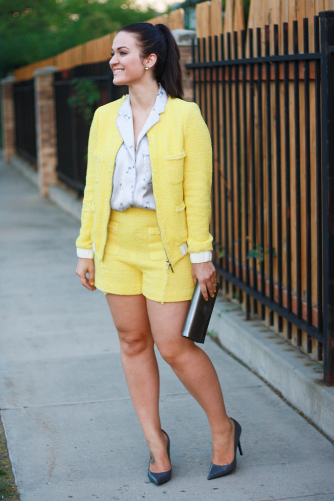 Yellow Tweed Outfit