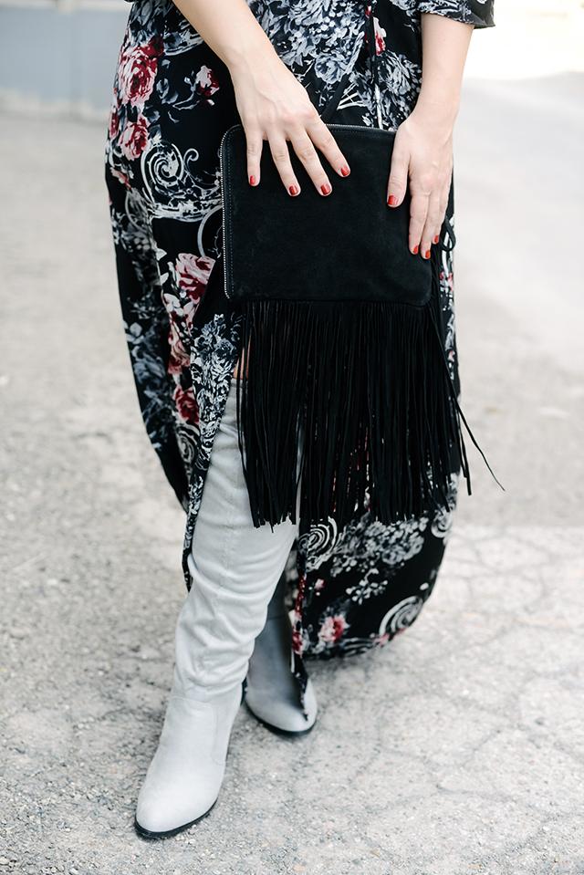 Zara Suede Fringe Clutch