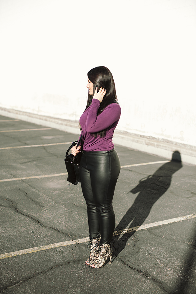 Draped Top and Leather Leggings