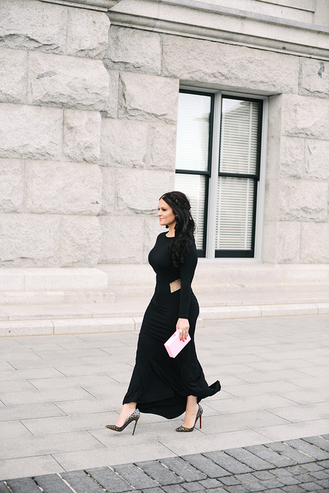 Long Sleeve Black Ball Gown