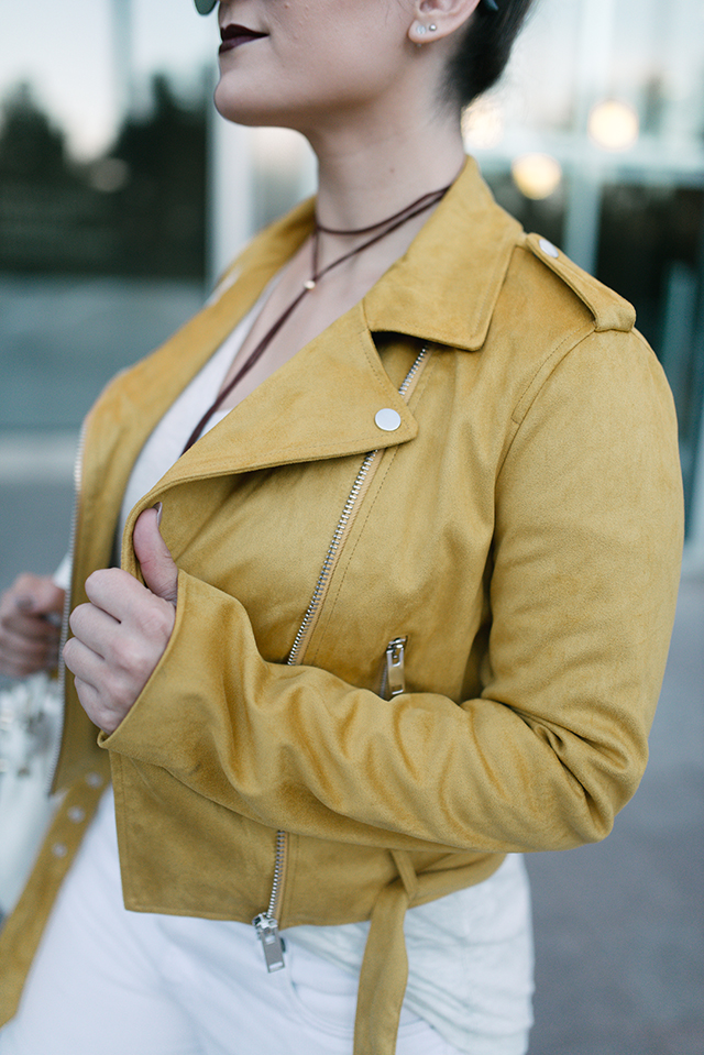 Forever 21 Yellow Suede Moto Jacket