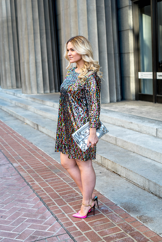 Holiday Boohoo Sequin Shift Dress