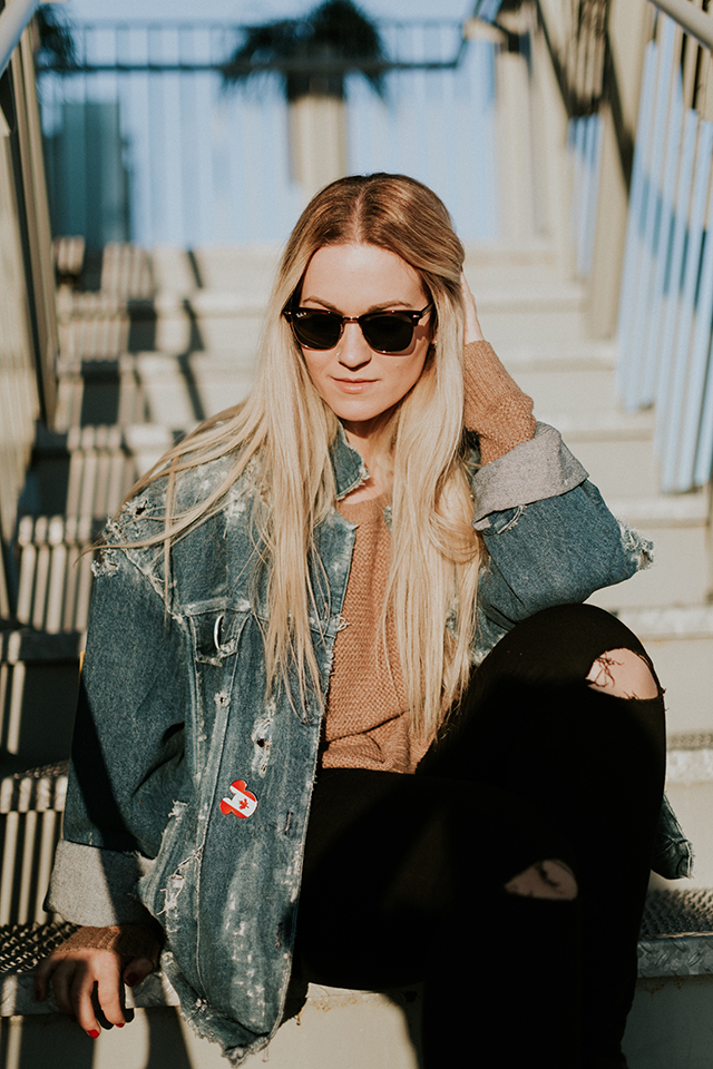 Distressed Denim Jacket Outfit