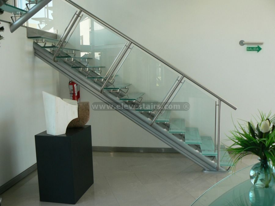 Straight Glass Stairs Crystal Stairs   Staircase Steel Railing Designs With Glass   Banister   Duplex   Button Glass   Exterior Perforated Metal   Glass Balustrade Wood Post