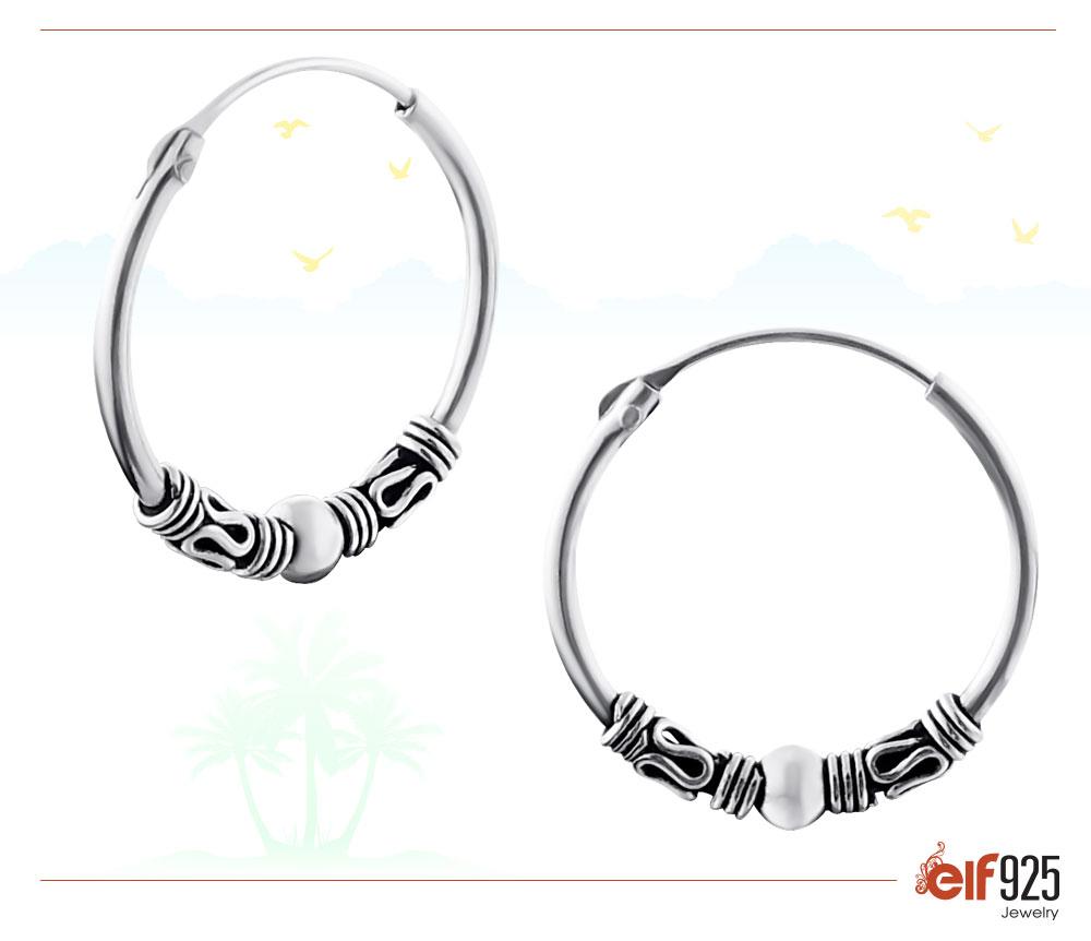 Image of Bali Sterling Silver Jewelry Ear Hoops