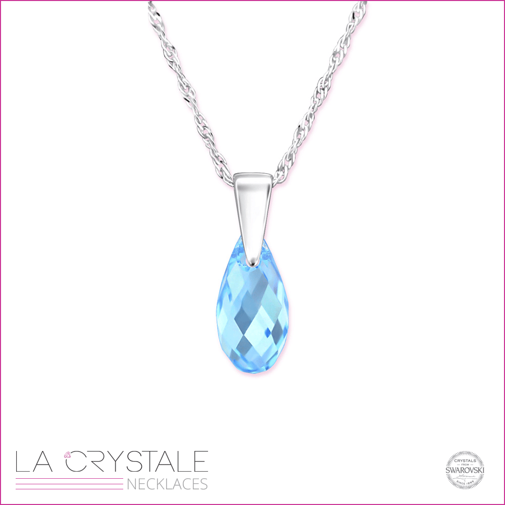 sterlin silver necklace with turquoise Swarovski® crystal