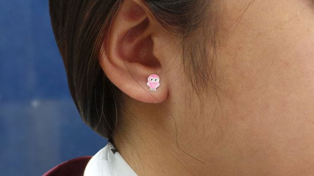 Children;s silver ear studs - pink owl