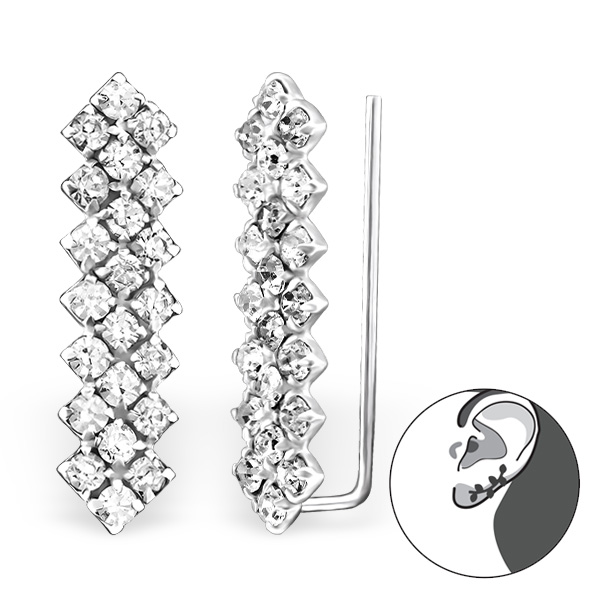 Silver Bar Ear Pin With Crystal