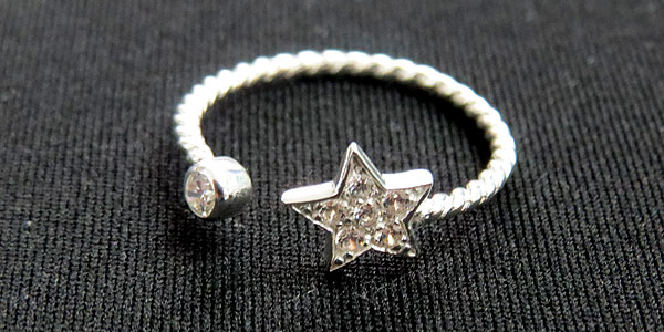 Sample of sterling silver ring with CZ stones