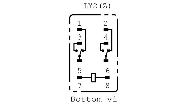 LY2 220/240AC Industrirelä 230 VAC 18790 Ohm 1 VA Omron