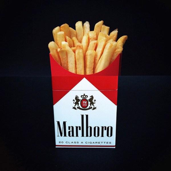 8. Patatas fritas + Paquete de tabaco