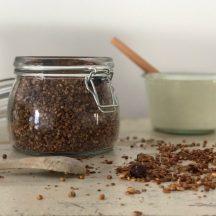 Wenn ihr auf der suche nach einem leckeren Schokogranola Rezept seit, das sich schnell und einfach herstellen lässt super zu Kokosjoghurt passt und auch noch ohne Zucker ist dann schaut auf www.elfenkindberlin.de