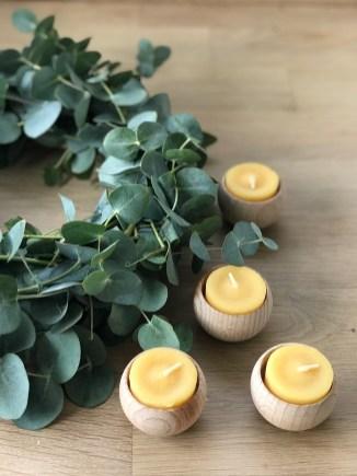 Eukalyptuskranz mit Bienewachskerzen