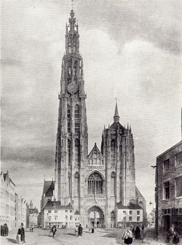 Antwerp Cathedral West Front in Beautiful Buildings in