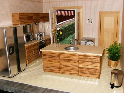 kitchen to go high end kitchens elf miniatures amaya bustillo has created a beautiful setting for her in zebrano adding steel accessories and fabulous flowers with the open door leading