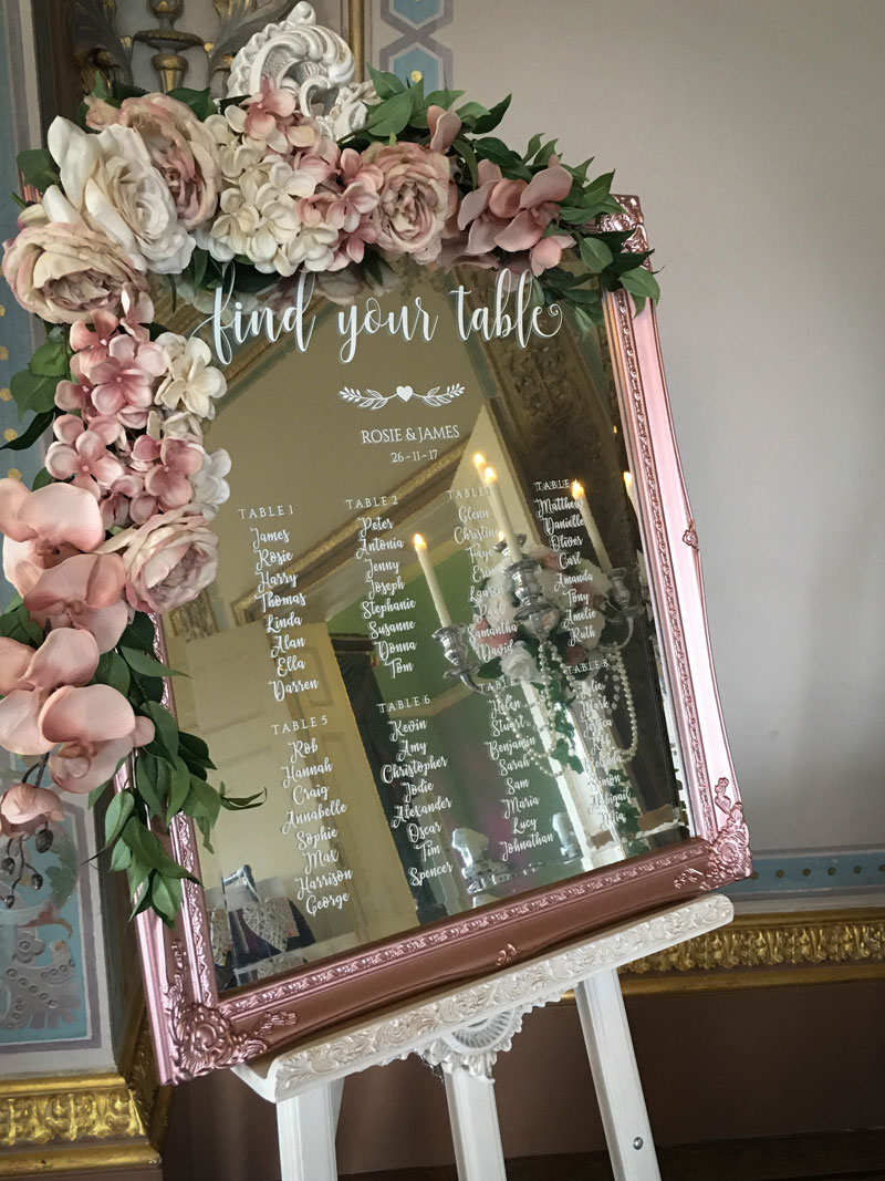 Wedding Mirror Table Plans  Elf Occasions Venue Styling Essex