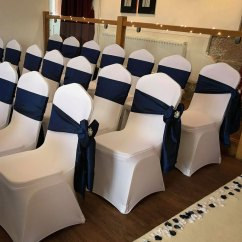 Silver Chair Covers Uk Shower Disabled White With Navy Sash Elfoccasions Co