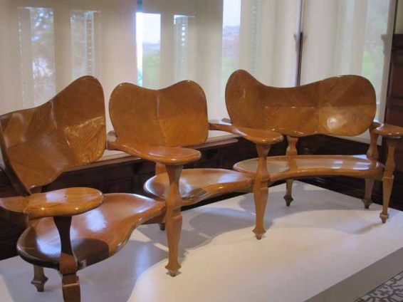 Photograph of organic furniture designed by Gaudí.